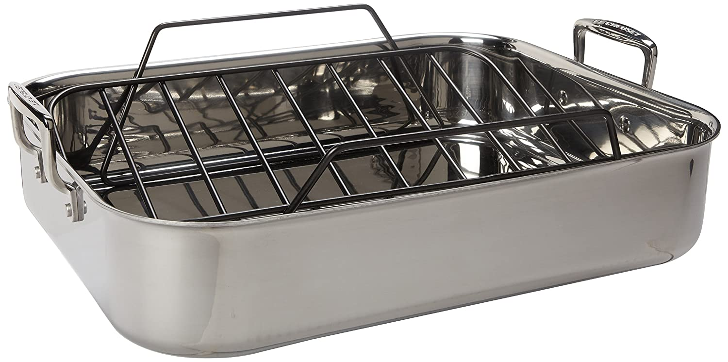 Com Le Creuset Tri Ply 17 By 13 75 Inch Stainless Steel Roasting Pan Set Large Refrigerator Magnets Kitchen Dining