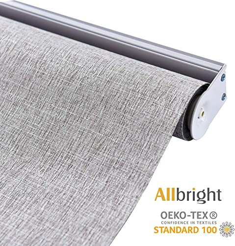 ALLBRIGHT 100 Blackout Roller Shades for Windows UV Protection Roller Blind Striped Jacquard Coffee, 27 W x 72 H