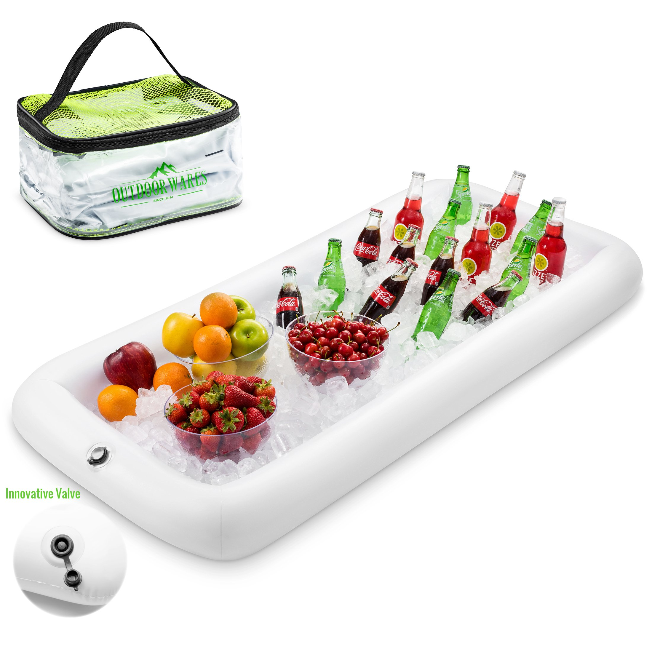 premium Inflatable Salad Bar Tray With New Innovative Valve for EASY Inflation - Deflation By Outdoorwares Food & Drink Holder For Picnics, Barbeques & Parties – 52'' x 22'' x 4.5''