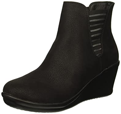 d378ab453e7 Skechers Women s Rumblers-Beam ME UP-Wedge Heeled Dressy Casual Striped  Gore Chelsea Boot