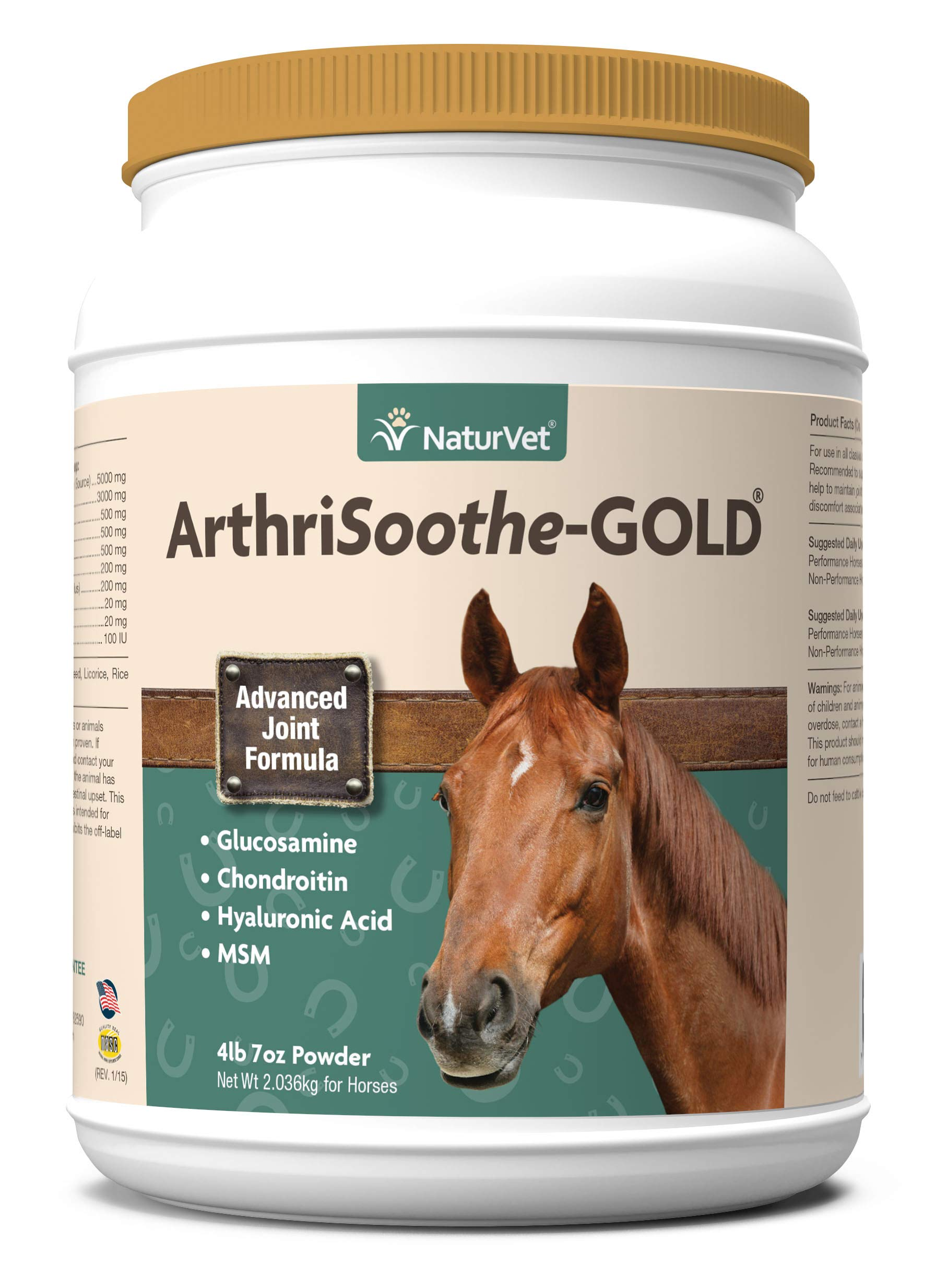 NaturVet - ArthriSoothe-Gold Advanced Joint Formula - Horse Powder - Supports Healthy Joint Function - Enhanced with Glucosamine, MSM, Chondroitin & Hyaluronic Acid (120 Day Supply) by NaturVet
