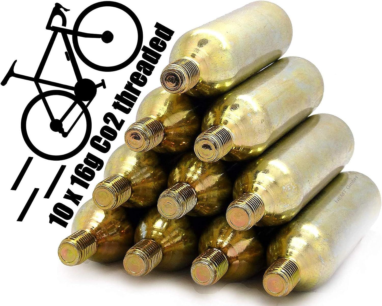 NEMT Cartuchos roscados 16g CO2 de 10 Piezas para neumáticos de MTB y Bicicletas de Carrera y Otros (Unisex)