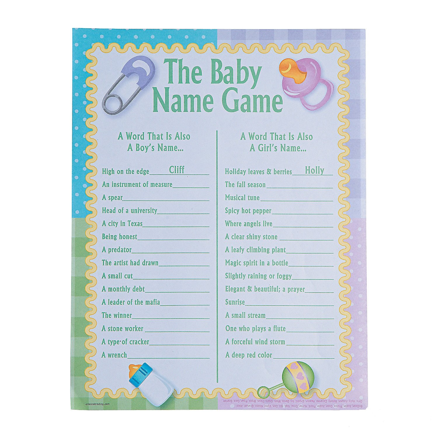 Amazon The Baby Name Game Baby Shower Game 2 Dz Toys & Games