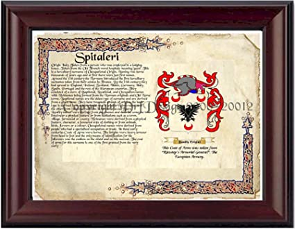 Spitaleri Coat Of Arms/ Family Crest On Fine Paper And Family History