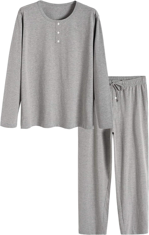 Latuza Men's Solid Cotton Pajamas Set Top and Lounge Pants