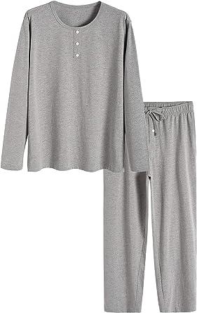 Latuza Mens Bamboo Viscose Long Sleeves Shirt Pajamas Pants Lounge Set