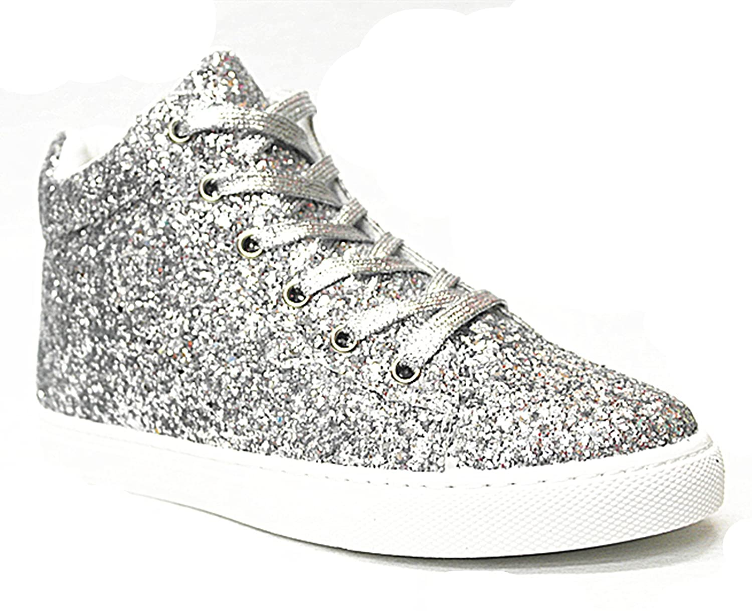 SF Forever Link Remy-18 Women's Jogger Sneaker-Lightweight Glitter Quilted Lace up Shoes New B07BJC5ZNN 7.5 B(M) US|Silver-27