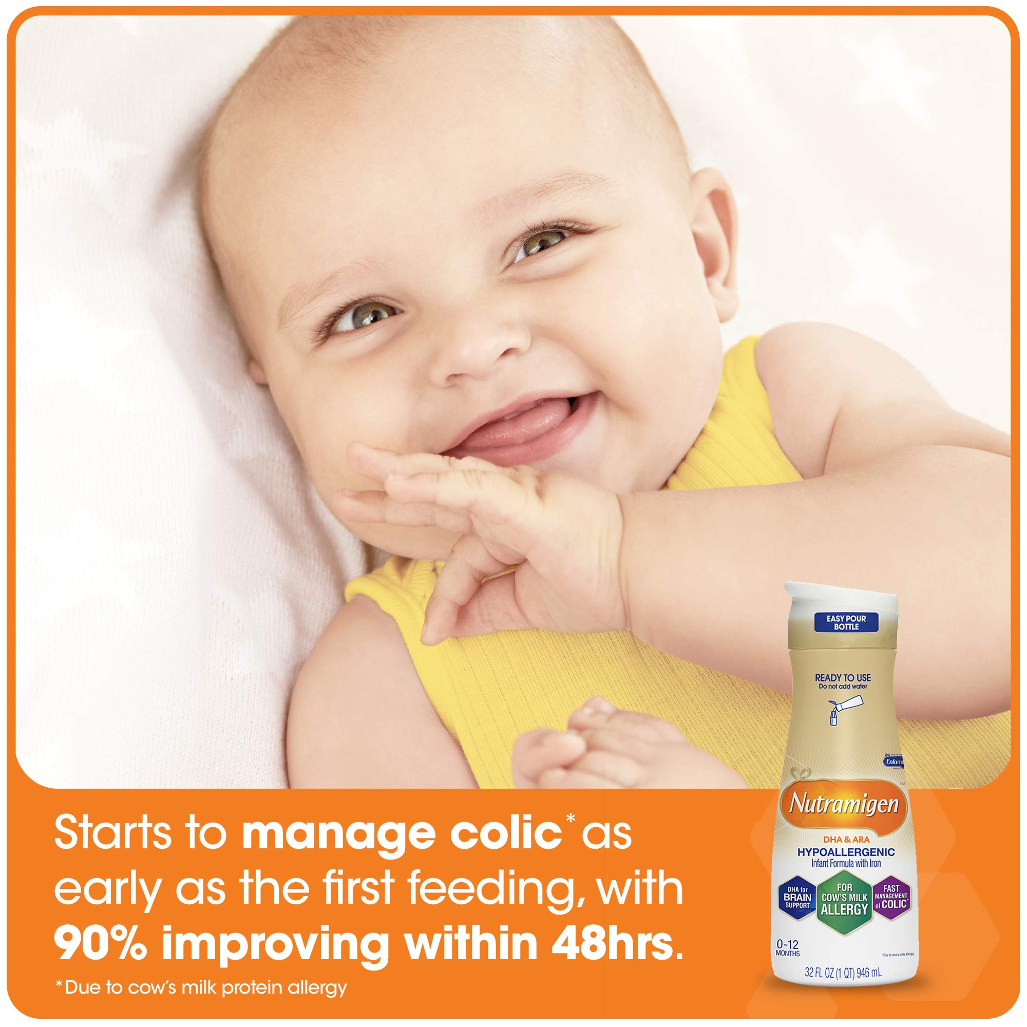 Enfamil Nutramigen Infant Formula - Hypoallergenic & Lactose-Free for Fast Colic Management - Ready to Use Liquid, 32 fl oz (6 count) by Enfamil (Image #5)