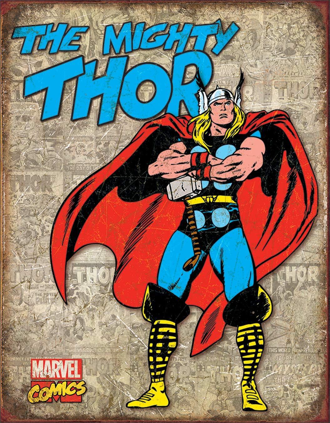 "Desperate Enterprises Marvel Comics Thor Retro Cover Panels Tin Sign, 12.5"" W x 16"" H"