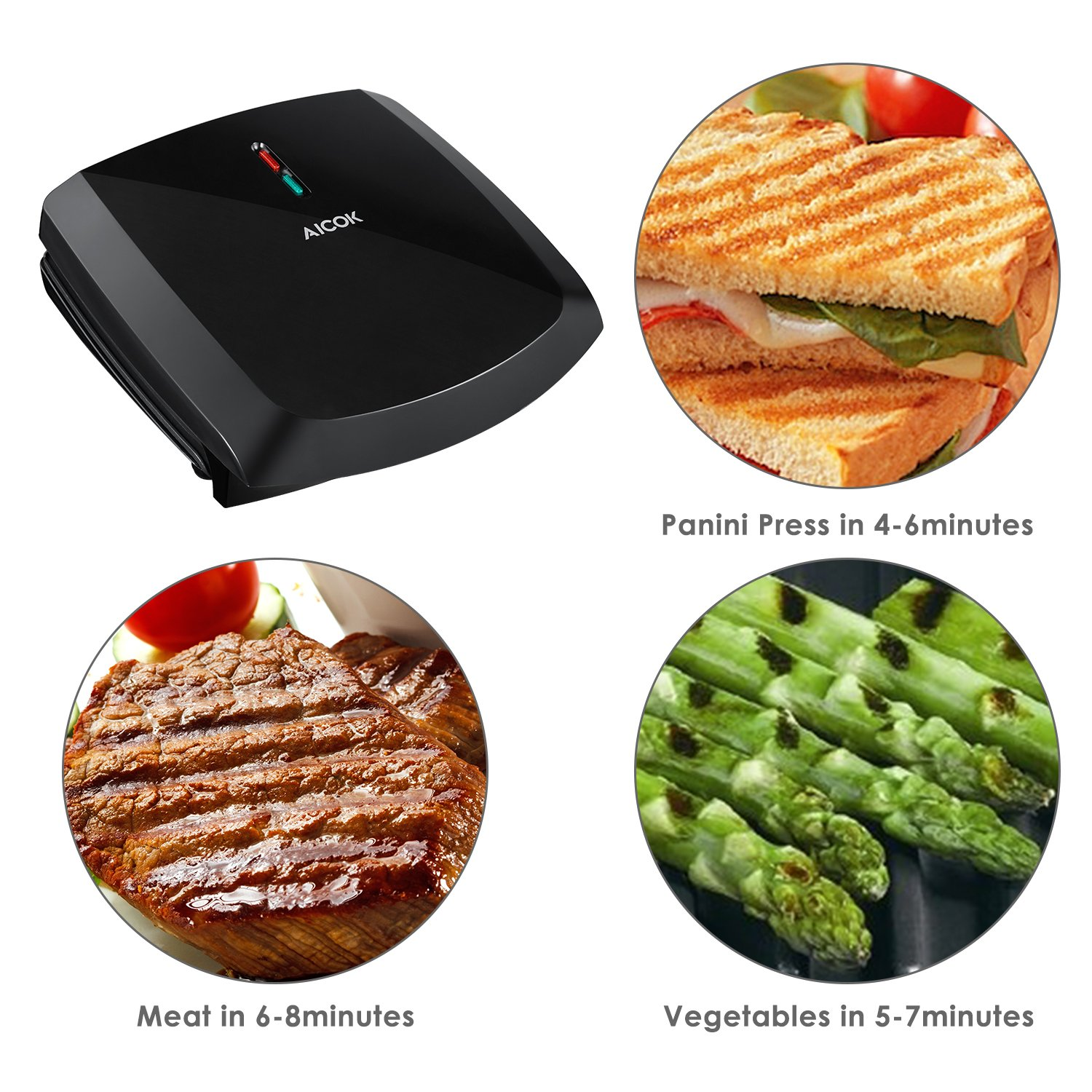 Aicok Panini Press 1000W Fast Cooking Non-Stick Sandwich Maker, 2-Serving Compact Indoor Grill with Drip Tray, Black by AICOK (Image #2)