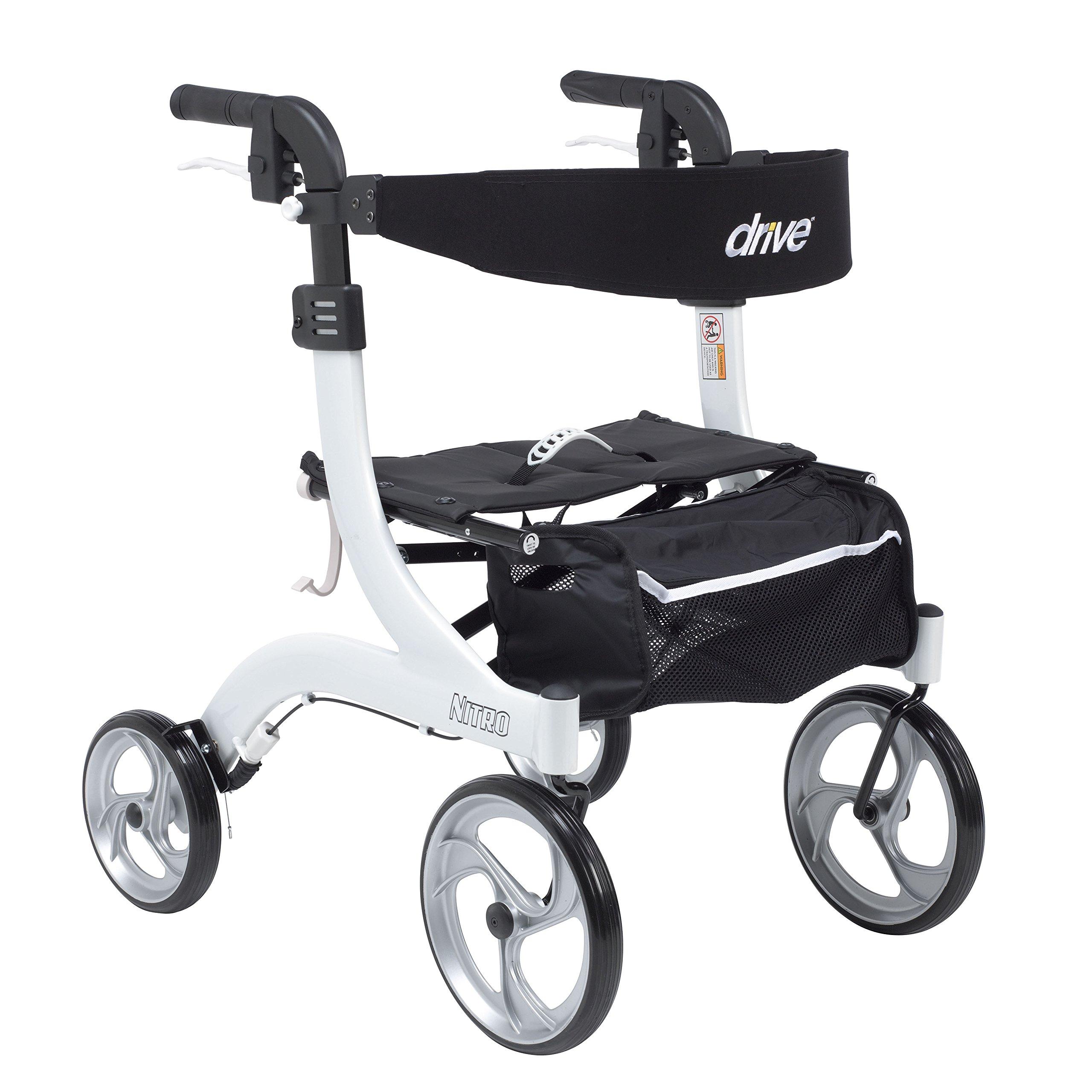 Drive Medical RTL10266WT-H Nitro Euro Style Walker Rollator, Petite, White