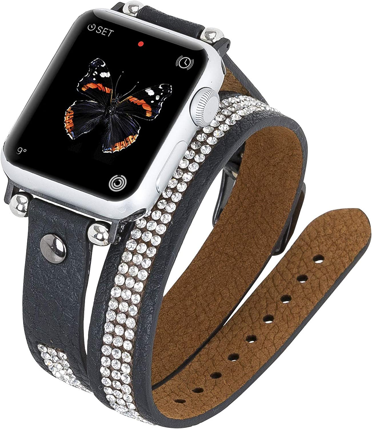 Venito Livorno Double Wrap Leather Slim Watch Band with Rhinestones Compatible w/Apple Watch Series 1, 2, 3, 4, 5, 6 with Stainless Steel Hardware (Black w/Black Connector & Clasp, 42mm-44mm)