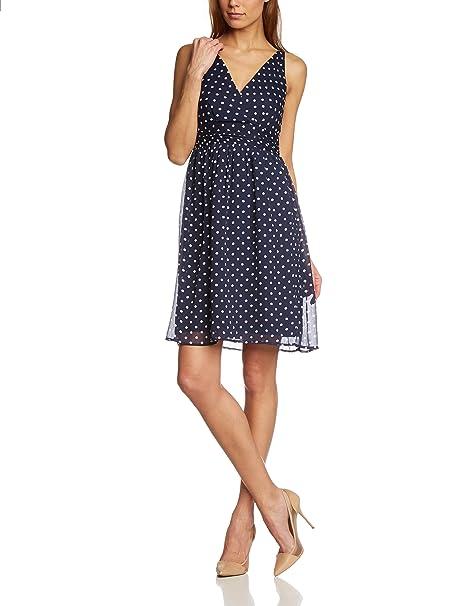 VERO MODA 10133397 - Vestido para mujer, Blau (Black Iris AOP:SNOW WHITE