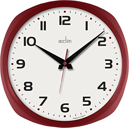 Red Acctim Lucia Bold Large Quartz Wall Clock 29004 Amazon Co Uk Office Products