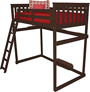 product image for Amish Mission Loft Bed with Ladder - Full Size Bed (Stain - Asbury, Ladder Style - End Ladder)