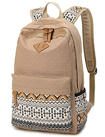b2fbe45a7faa Leaper Polka Dot and Aztec Casual Canvas Backpack School Bag Rucksack Khaki