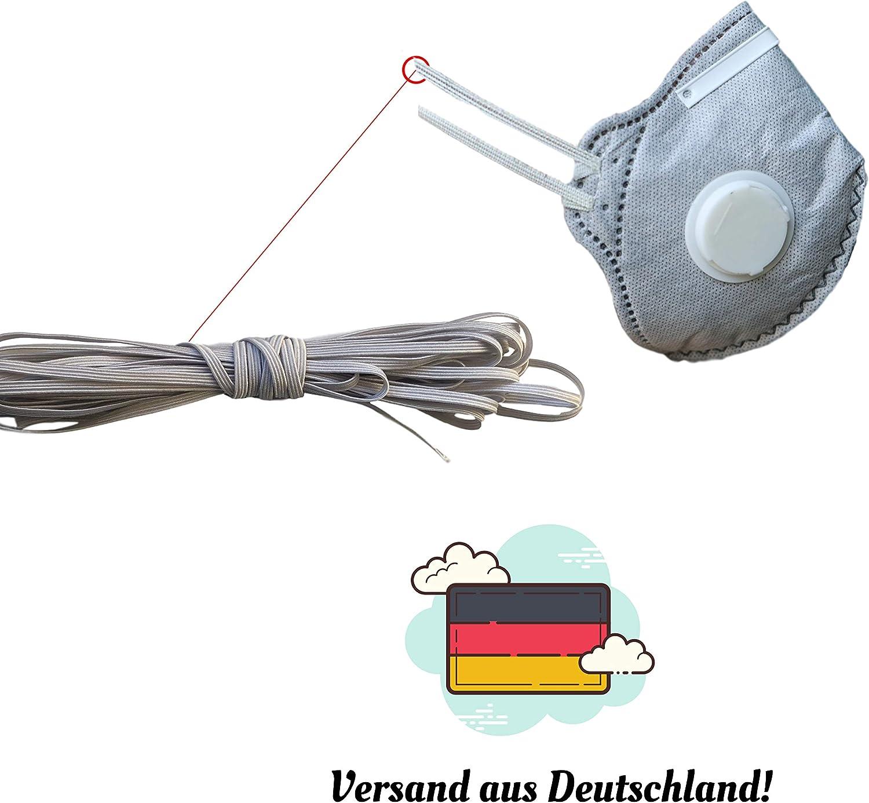 1 mm 10m dok protektor Gummiband F/ür Mundschutz und Behelfsmasken