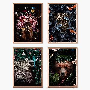 YUMKNOW Farmhouse Highland Cow Wall Art - Unframed 8x10 Set of 4, Modern Indie Guy Room Bathroom Decor, Boho Cool Deer Bear Pictures for Teens Boys, Aesthetic Flower Botanical Black Dark Animal Dorm