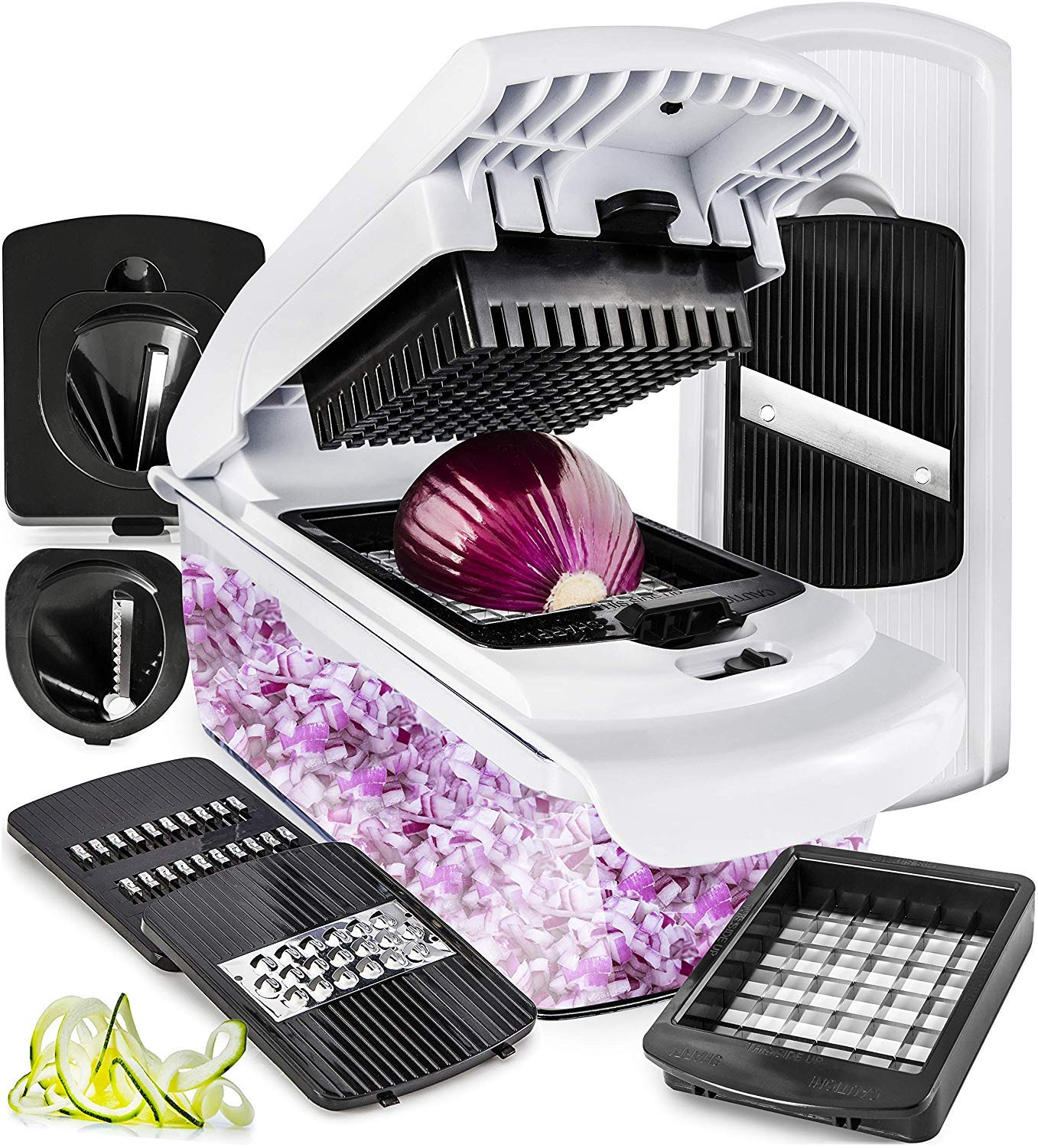 Fullstar Vegetable Chopper Mandoline Slicer Dicer - Onion Chopper - Vegetable Dicer Food Chopper Dicer Pro - Food Choppers and Dicers - Spiralizer Vegetable Cutter - Spiralizer Vegetable Slicer by Fullstar