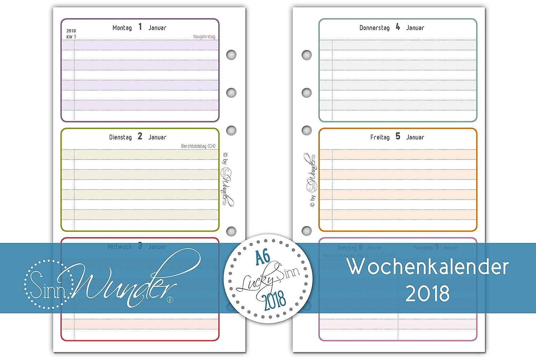 Hojas de agenda calendario 2018 SinnWunder, A6 (9,6 cm x 17 ...