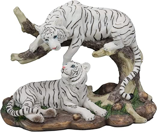 Hand Painted NEW Beautiful Pair of White Tiger Ornaments Home//Office