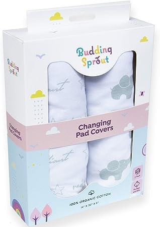 Oferta amazon: Fundas ultra suaves de algodón orgánico para cambiadores de bebés (paquete de 2). Se adaptan a cambiadores de tamaño estándar 40,6 x 81,2 cm (16