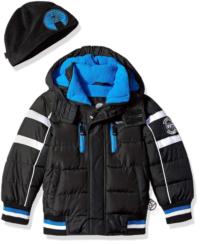 Weatherproof Boys Bubble Jacket with Striped Hem Cuffs