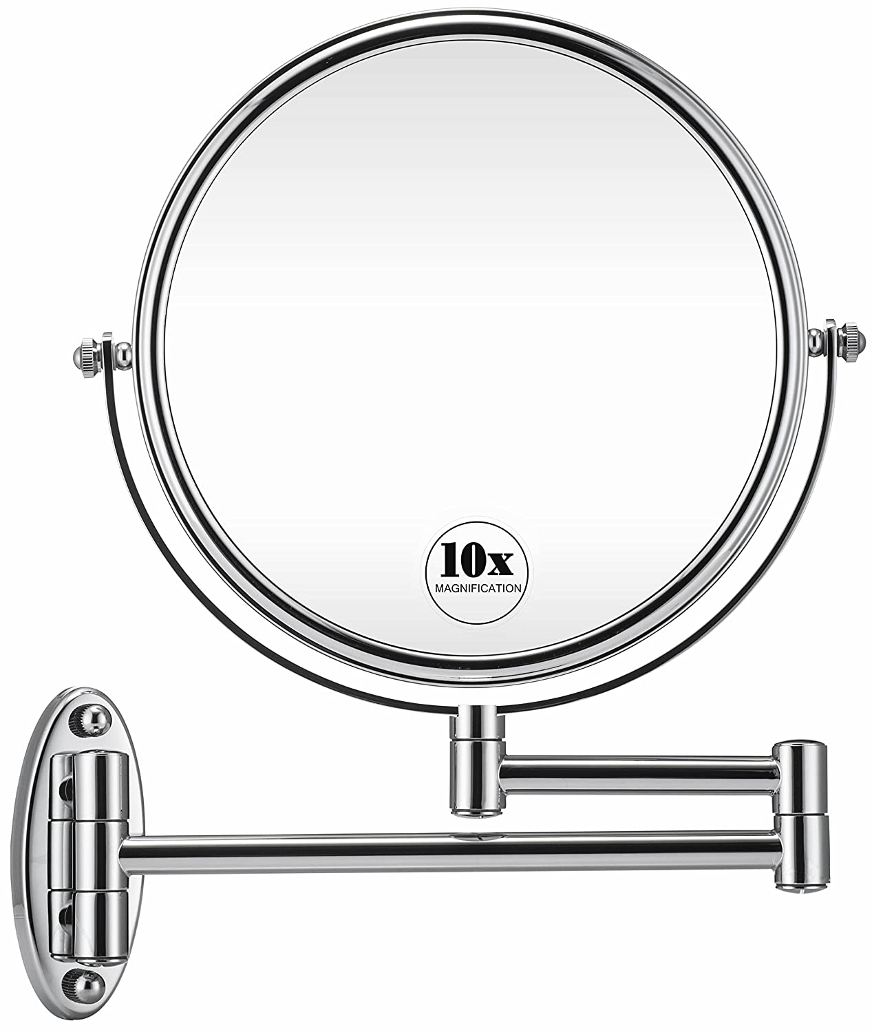 GloRiastar 10X Wall Mounted Makeup Mirror - Double Sided Magnifying Makeup Mirror for Bathroom, 8 Inch Extension Polished Chrome Finished Mirror