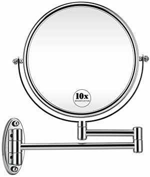 Amazon Com Gloriastar 10x Wall Mounted Makeup Mirror Double Sided Magnifying Makeup Mirror For Bathroom 8 Inch Extension Polished Chrome Finished Mirror Beauty