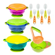 Baby Bowls Feeding Set with Baby Fork and Baby Spoons   Toddler Bowls with Baby Food Masher  Suction Baby Bowl for Toddlers with Toddler Utensils  BPA Free Baby Shower Registry Must Haves