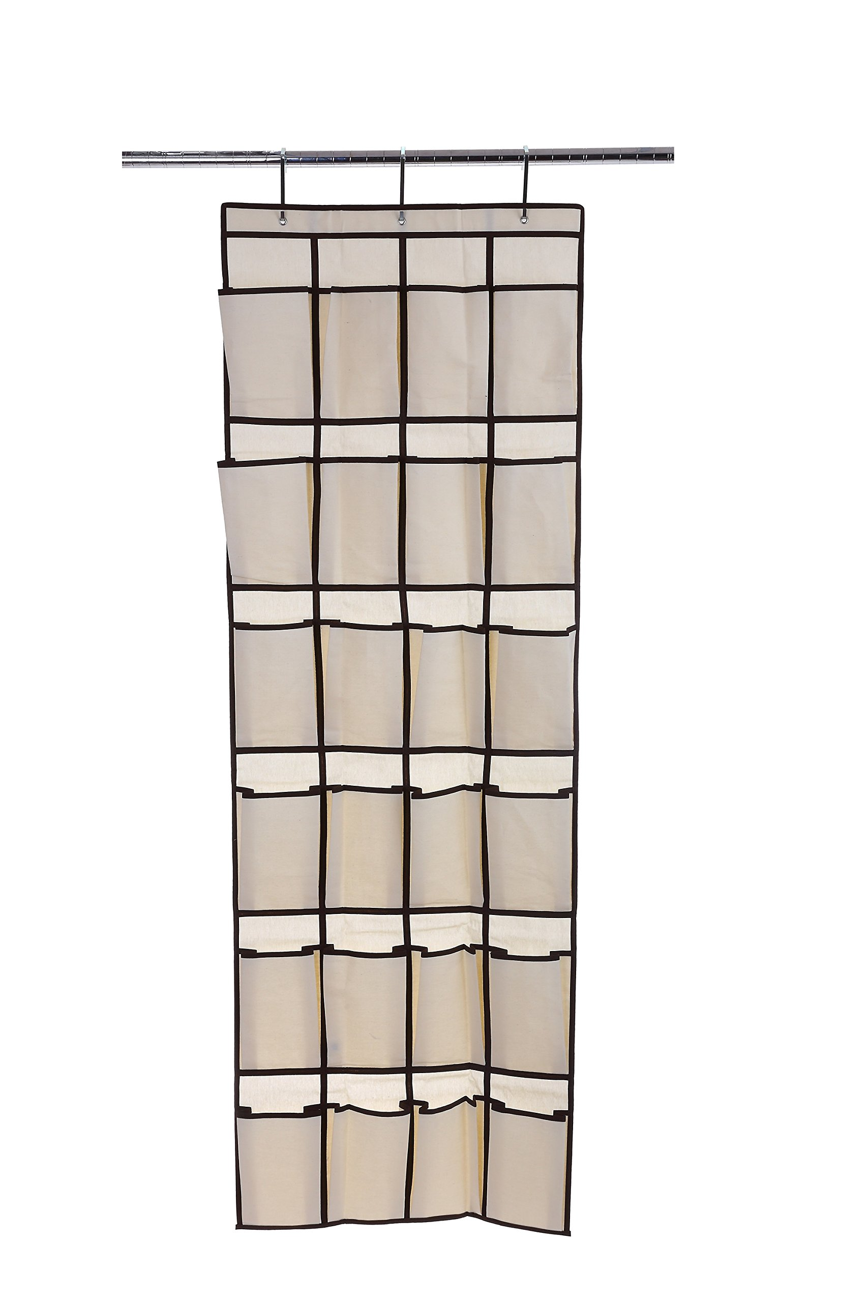 Ybmhome 24 Pocket Fabric Hanging Over the Closet Rod Shoe Storage Rack Organizer with 4 Metal Hanger Hooks Natural w/Brown Trim 2207 (1)