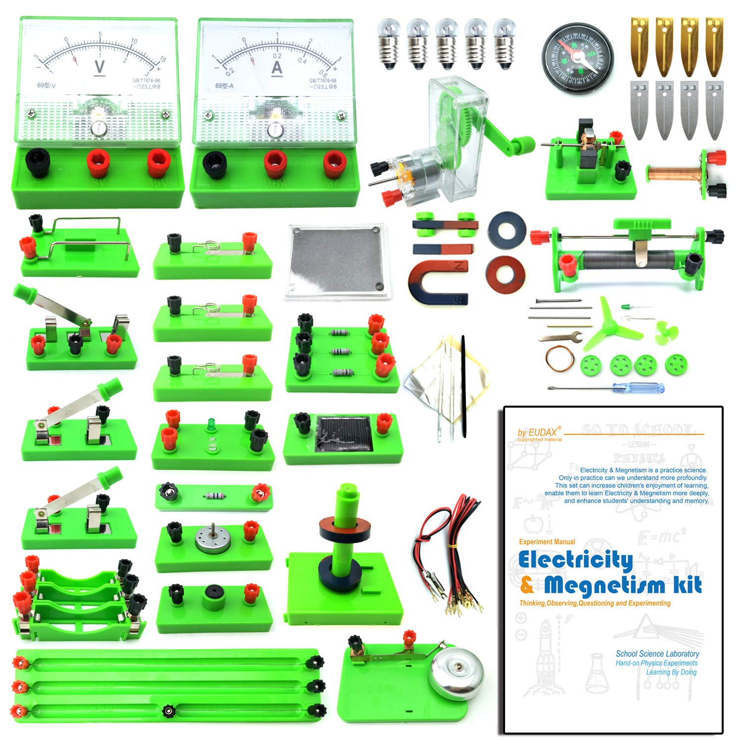 Amazon.com: EUDAX School Physics Labs Basic Electricity Discovery Circuit  Magnetism Experiment Kits Kids Junior Senior High School Students  Electromagnetism ...