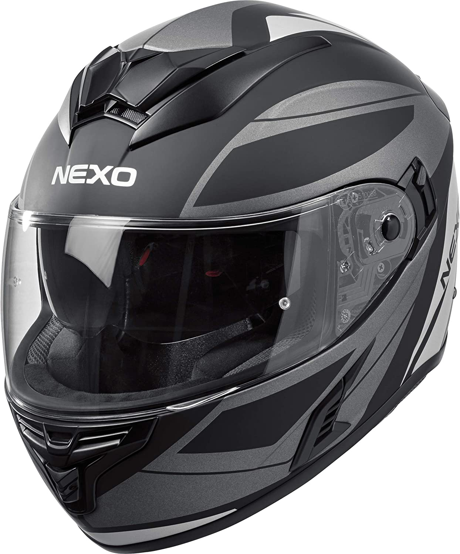 Nexo Integralhelm Motorradhelm Helm Motorrad Mopedhelm Fiberglas Kratzfestes Visier Kinn Kopfbelüftung Doppel D Verschluss Sonnenblende Silber Dekor Xxl Bekleidung