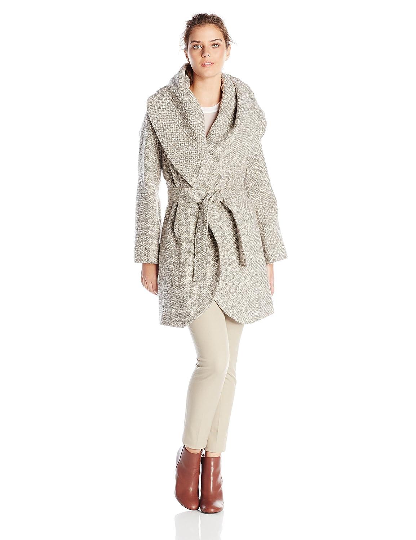 T Tahari Women's Marla Tweed Wrap Coat 56268T-T5