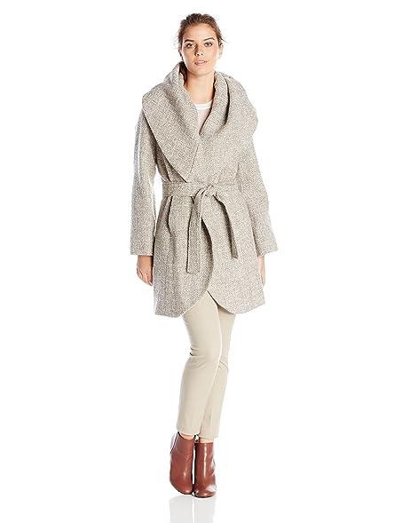 Amazon.com: T Tahari Women's Marla Tweed Wrap Coat: Clothing