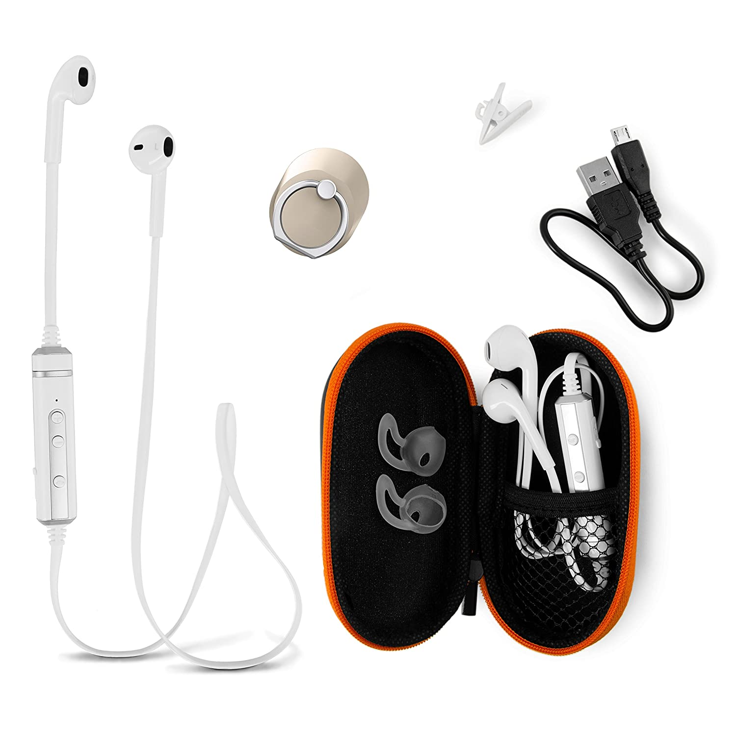 Bluetooth Earphones Headset with Carry Case – Best Wireless Earbuds Headphones Compatible with iPhone and Android Enjoy Clear Stereo Sound with 2 Years Guarantee