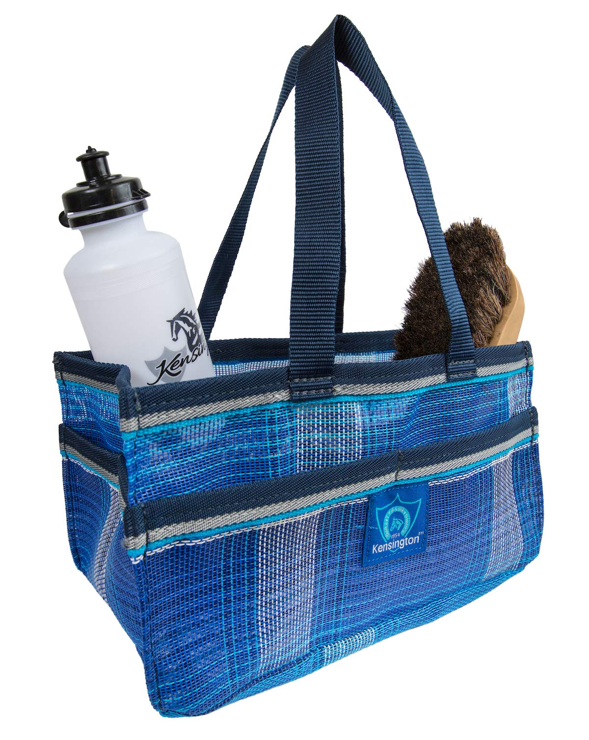 Kensington Horse Grooming Tote Bag - Handy Upright Stow Away in Vibrant Plaid Designs - Durable with Lots of Storage Compartments - 12'' L x 7'' W x 7'' D