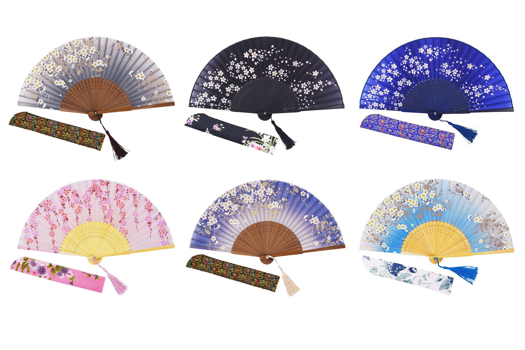 Amajiji Charming Elegant Modern Woman Handmade Bamboo Silk 8.27'' (21cm) Folding Pocket Purse Hand Fan (Mixed Colors, 6pcs)