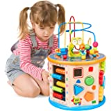 BATTOP 8 in 1 Wooden Activity Cube Bead Maze Multi-purpose Educational Toys for 1 Year Old Boys Girls Kids Activity Center