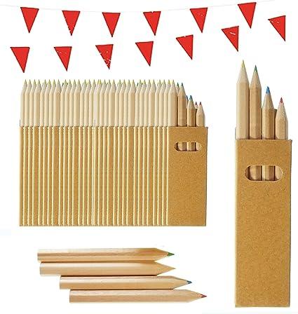 100 Sets de Lápices de Colores Infantiles Partituki. Cada uno con 4 Mini Lápices. Incluye Guirnalda de 10 m. Ideal para Packs de Fiestas de Cumpleaños Infantiles, Recuerdos de Bodas y Colegios: