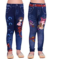 Ziva Fashion Girls Blue Printed Jeggings (Pack of 2)