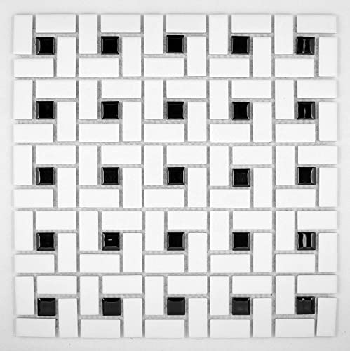 Vogue Spiral Pattern Porcelain Pinwheel Mosaic Tile Matte White with Shiny Black Dots Designed in Italy Lot of 50 sq. ft.