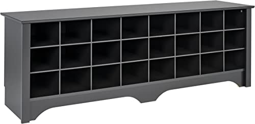 Prepac 24 Pair Shoe Storage Cubby Bench, Black