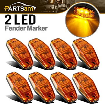 4pcs LED Light Diode AMBER Universal Surface Mount Clearance Side Marker Trailer
