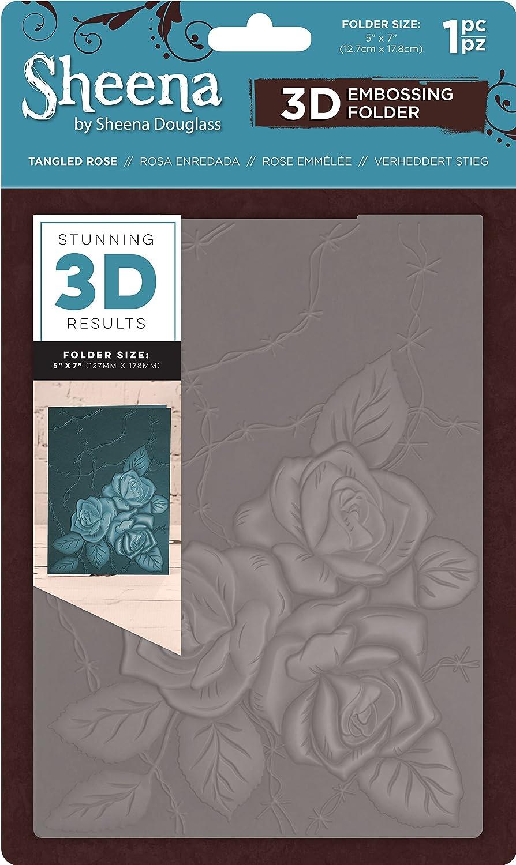 Sheena Douglass 3D goffratura, 5x 7-tangled rose, 15x 0.6x 25.1cm Crafter' s Companion SD-EF5-3D-TANR