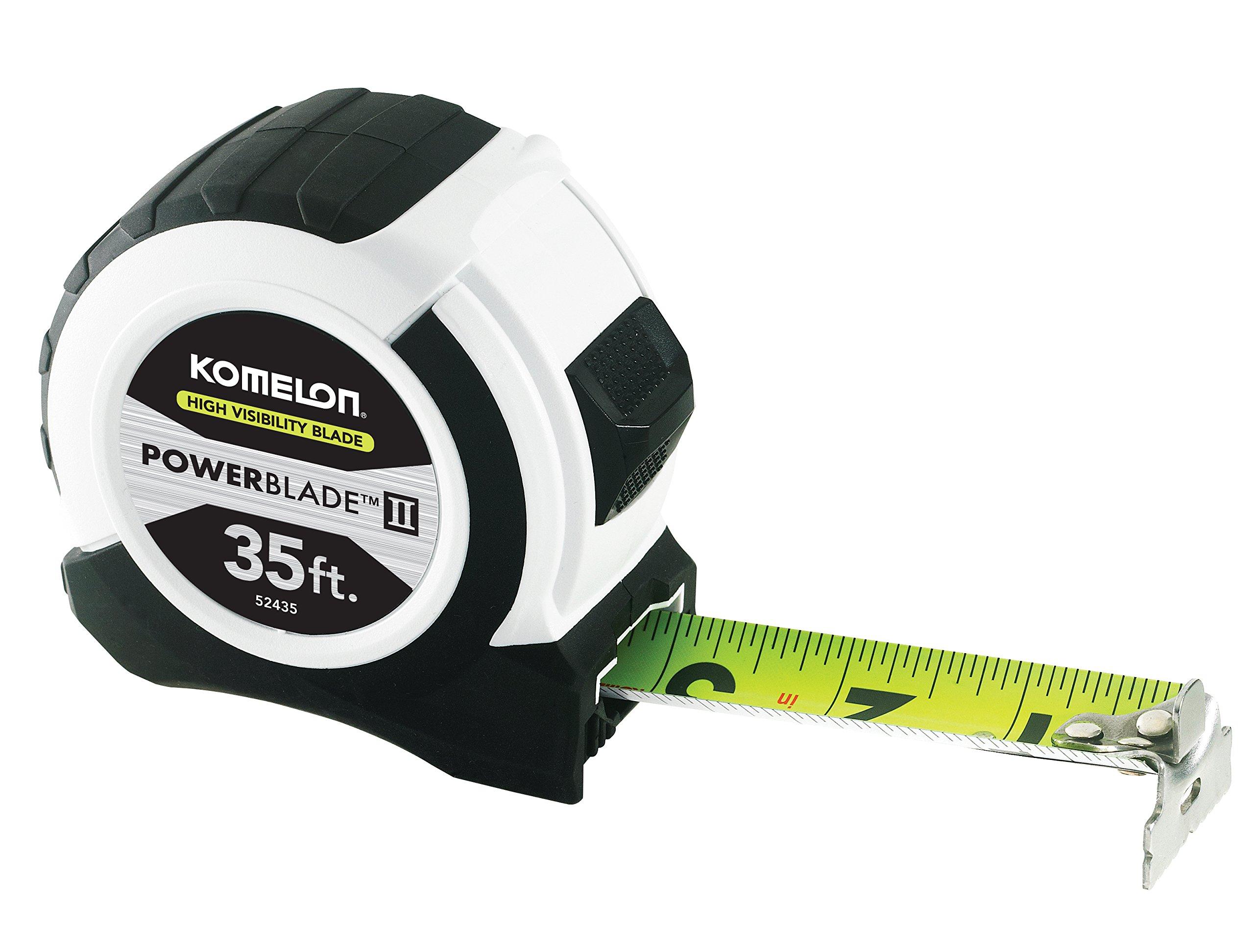 Komelon 52435; 35' x 1.06'' Powerblade II Tape Measure, ABS Case, Black/White by Komelon