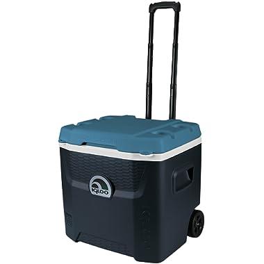 Igloo Max Cold Quantum 52 Quart Roller Cooler, Jet Carbon/Ice Blue/White