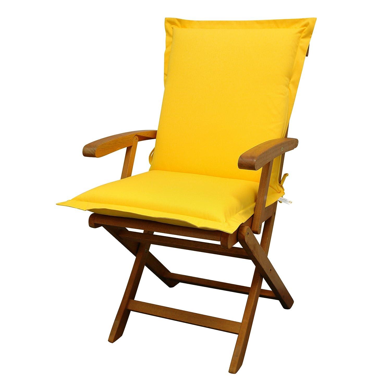 IND-70441-AUNL Sitzauflage Niederlehner Premium, extra dicke Polsterauflage mit Reißverschluss, 100 x 50 x 9 cm, Gelb