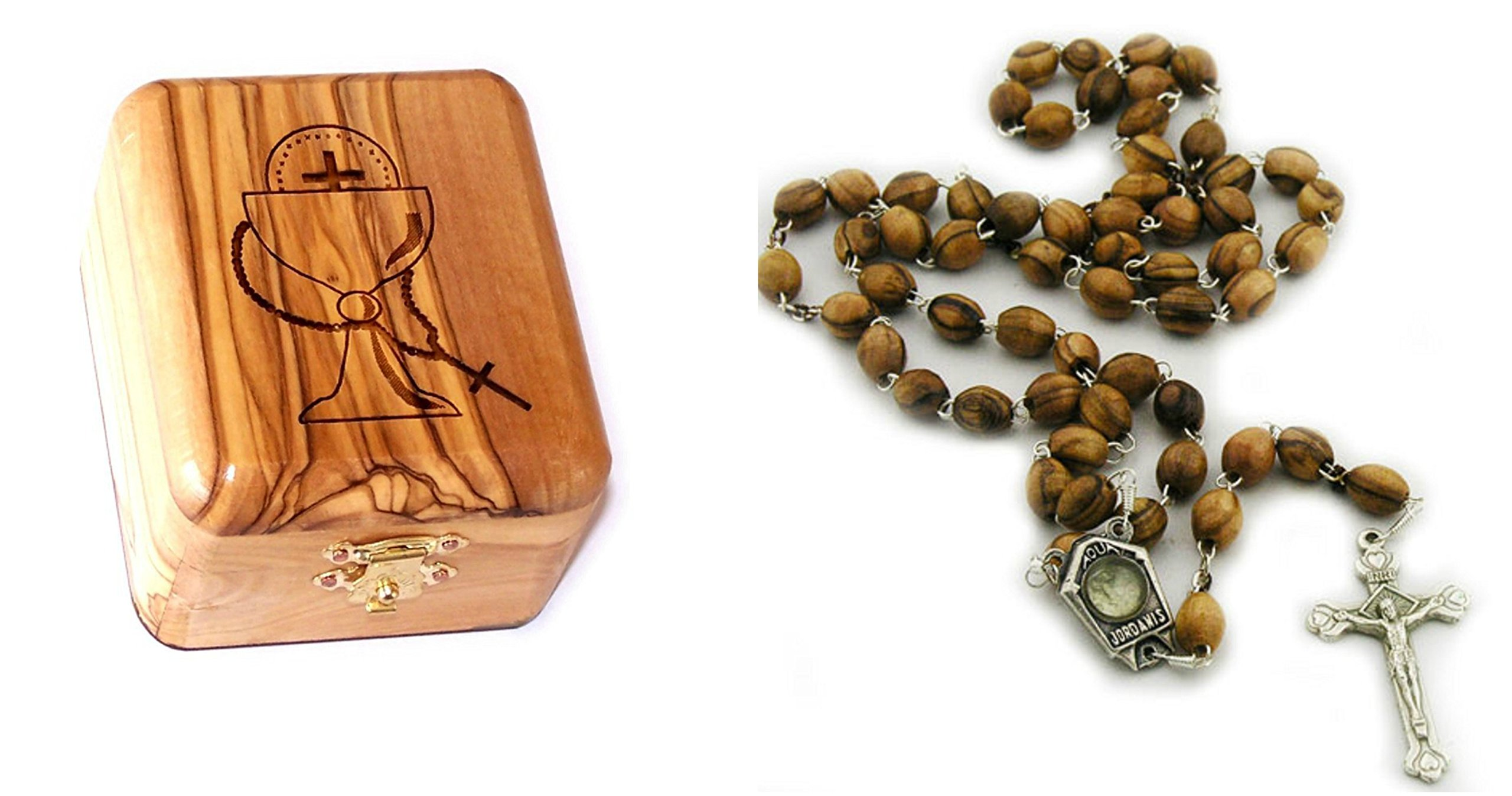 Bethlehem Gifts TM Olive Wood First Communion Jewelry Box with Rosary Set by (Water Silver Crucifix) by Bethlehem Gifts TM
