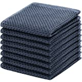 100% Cotton Kitchen Dish Cloths, 8-Pack Waffle Weave Ultra Soft Absorbent Dish Towels Washcloths Quick Drying Dish Rags, 12x1